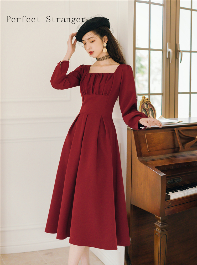 Весна-Осень 2020, Новое поступление, Ретро стиль, хит продаж, платье принцессы с квадратным воротником, женское длинное платье с завышенной та...