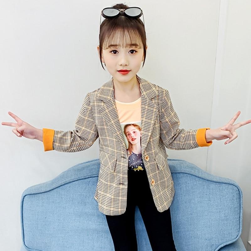 Children's Blazer For Teenage Girl Long Sleeve Cardigan Plaid Blazers Student School Uniform Outerwear Girls Casual Coat Costume 1