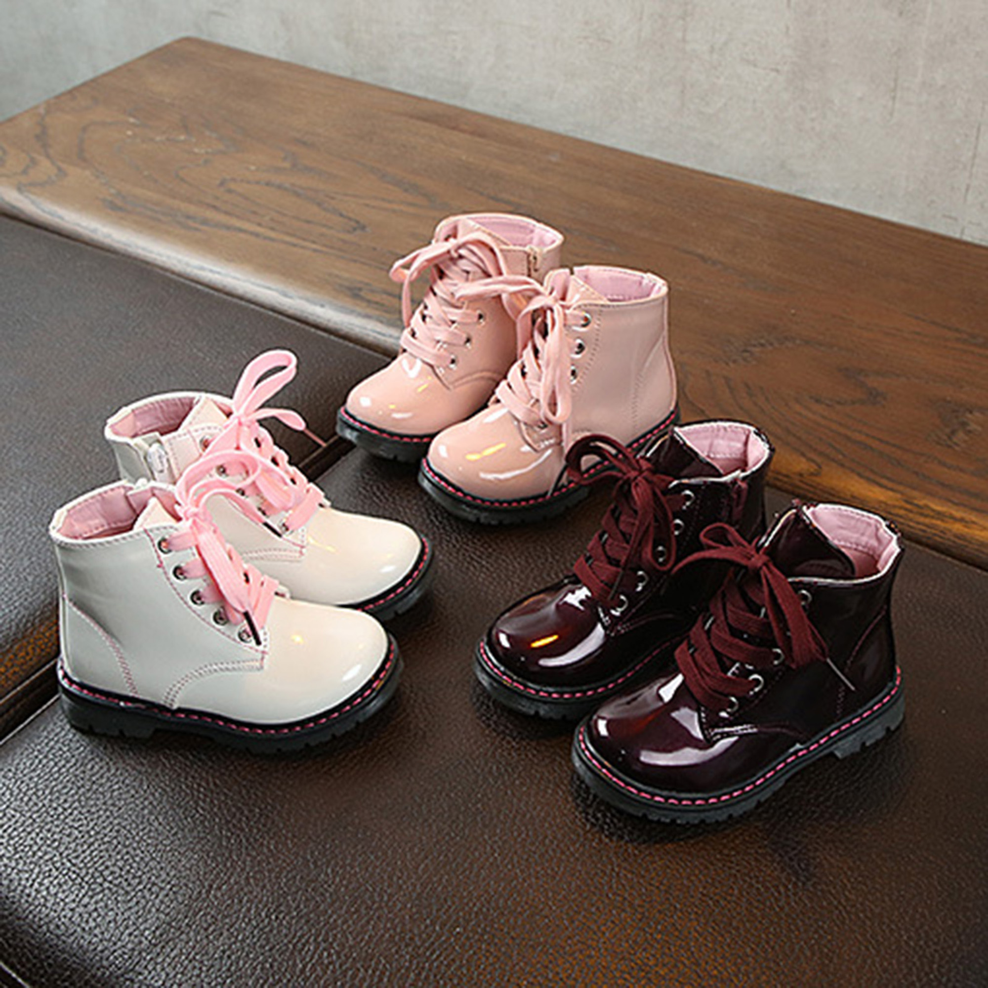 Children Toddler Girls Martin Boots Fashion Side Zipper Lace-Up PU Leather Non-Slip Ankle Boots Infant Soft Bottom Short Boots