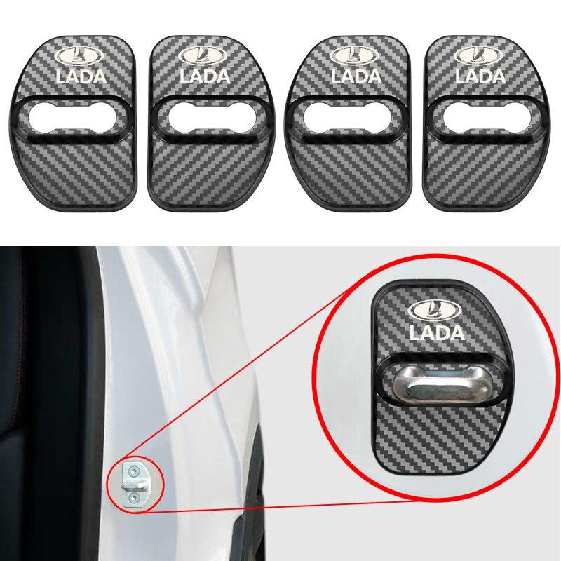 4pcs Car Styling Carbon Fiber Pattern Auto Door Lock Cover Case For Lada XRAY Vesta SW Cross Car Protective Buckle Accessories