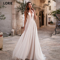 LORIE Charming Soft Tulle Pearls Wedding Dresses Beach Bohemia Light Pink Bridal Gown Sexy V neck Princess Wedding Gown 2020