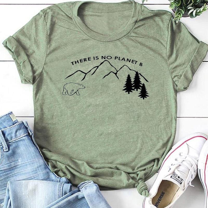 There Is No Planet B   T     Shirt   Women Protect Polar Bear Tshirt Save Earth   Shirts   Streetwear Slogan Tees Cotton Girl Tops Drop Ship