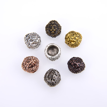 10PCS/ package Leo Antique Silver Gold Color Tibetan lion Head Metal Charms Beads Accessory Spacer For DIY Bracelet Jewelry Making Wholesale