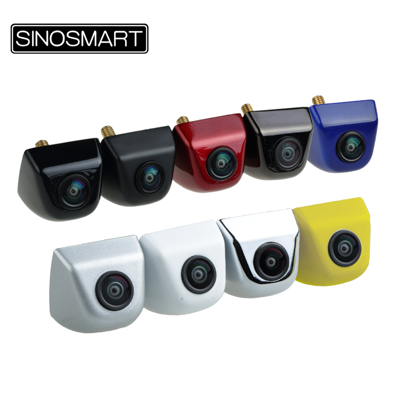 SINOSMART In Stock Wide View Angle Universal Parking Reverse Backup Camera for Car DC 5V-28V Input with 7 Colors Freely Optional
