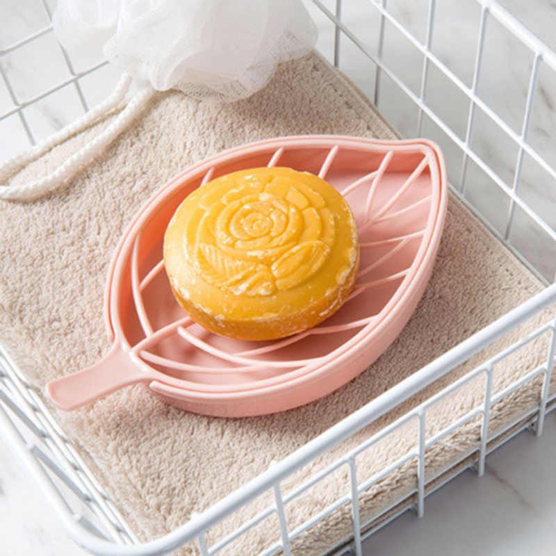 עלה צורת החלקה סבון צלחת תיבת סבון בעל אסלת מקלחת מגש ניקוז מתלה סבון מגש מחזיק סבון שומר גאדג 'טים רחצה