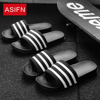 ASIFN Classic Stripes Men Slippers Casual Summer Beach Flip Flops Women Slides Male Shoes Non-slip Black White Zapatos Hombre