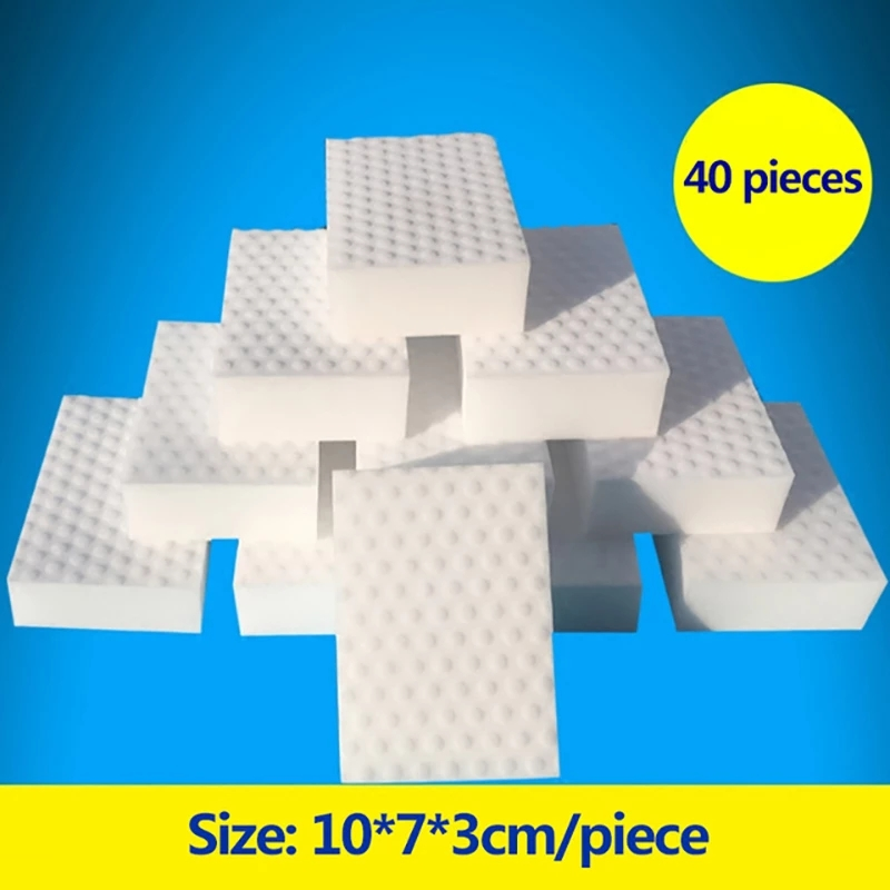 ZhangJi 40 Pcs Compressed Magic Erasers Melamine Sponge Shoes Kitchen Bathroom Multi Function Cleaning Tools Quality Supplier