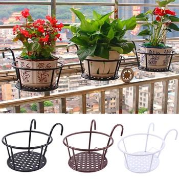 Suministros para jardín, estantes de hierro para plantas colgantes, balcones, macetas redondas, barandilla, cerca para exteriores, 1 piezas