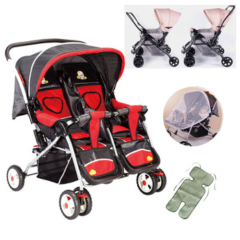 Twins Baby Stroller Folding Convertible Handle Double Stroller for Twins Infant Baby Carriage Can Sit Lie Travel System Pram twins baby stroller sitting and lying portable baby carriage folding second child artifact double seat twin stroller for newborn