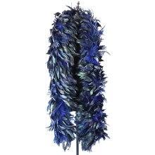 Plumes naturelles de poulet, châle en Plumes de coq, teinté Boa, pour bricolage, robe de fête de carnaval, décoration de vêtements, travaux d'aiguille, 2 mètres