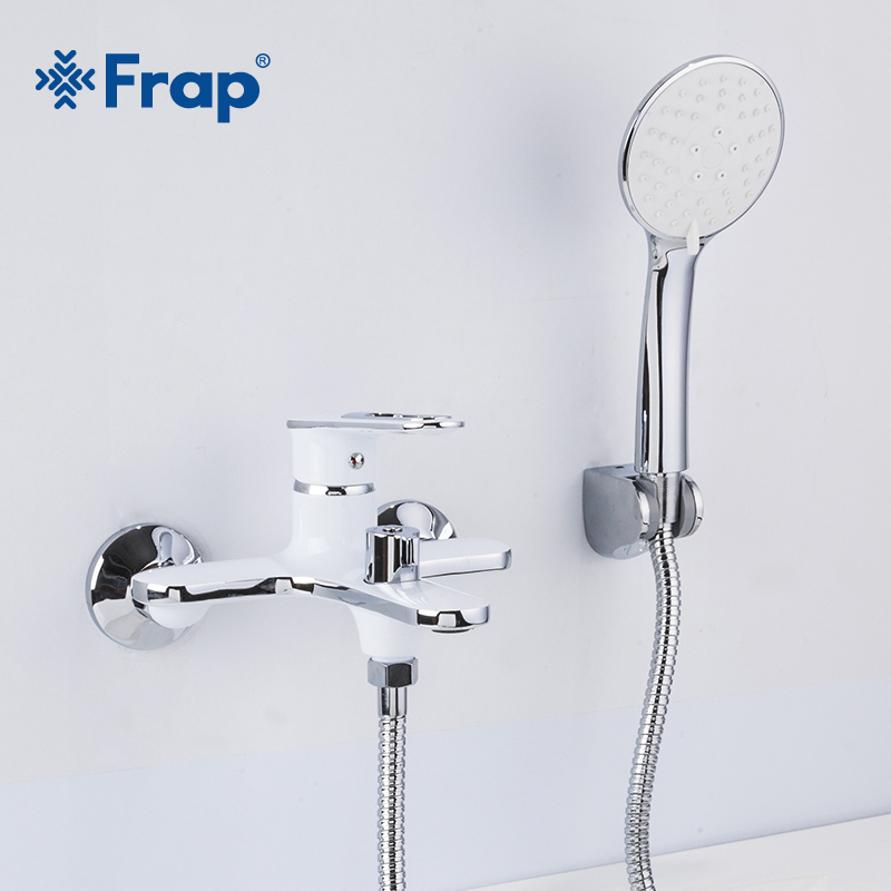 Frap White Bathtub Fauce Waterfall Bathroom Shower Wall Mounted Hot & Cold Water Mixer Tap Bath Shower Faucet F3249