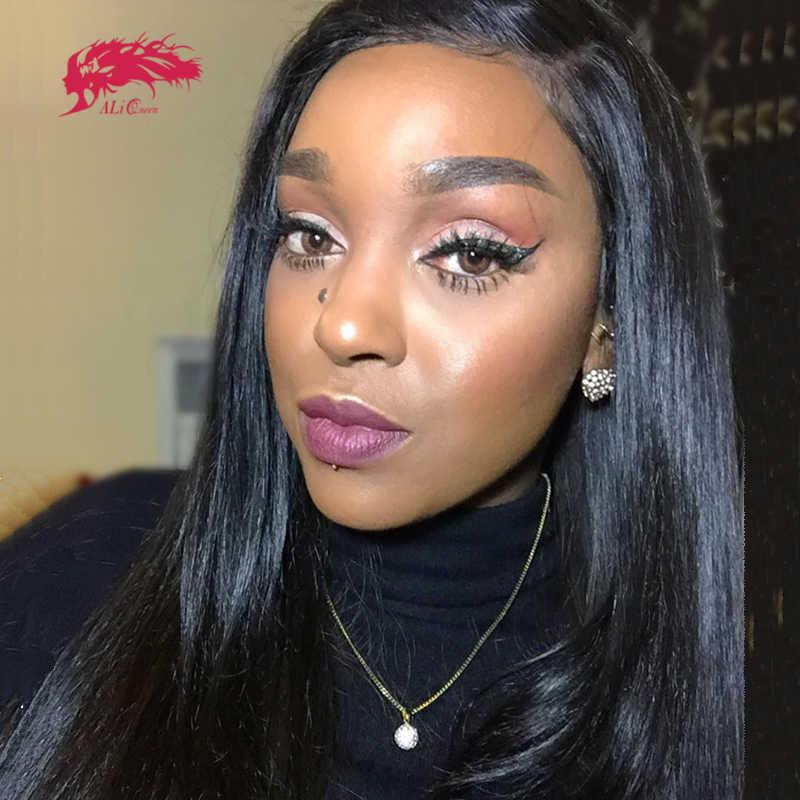 """Ali Queen Hair 13X4/13x6 prosto koronkowa peruka na przód Natural Color 360 koronkowa peruka z przodu 8 """"do 36"""" Virgin Remy peruki z ludzkich włosów"""