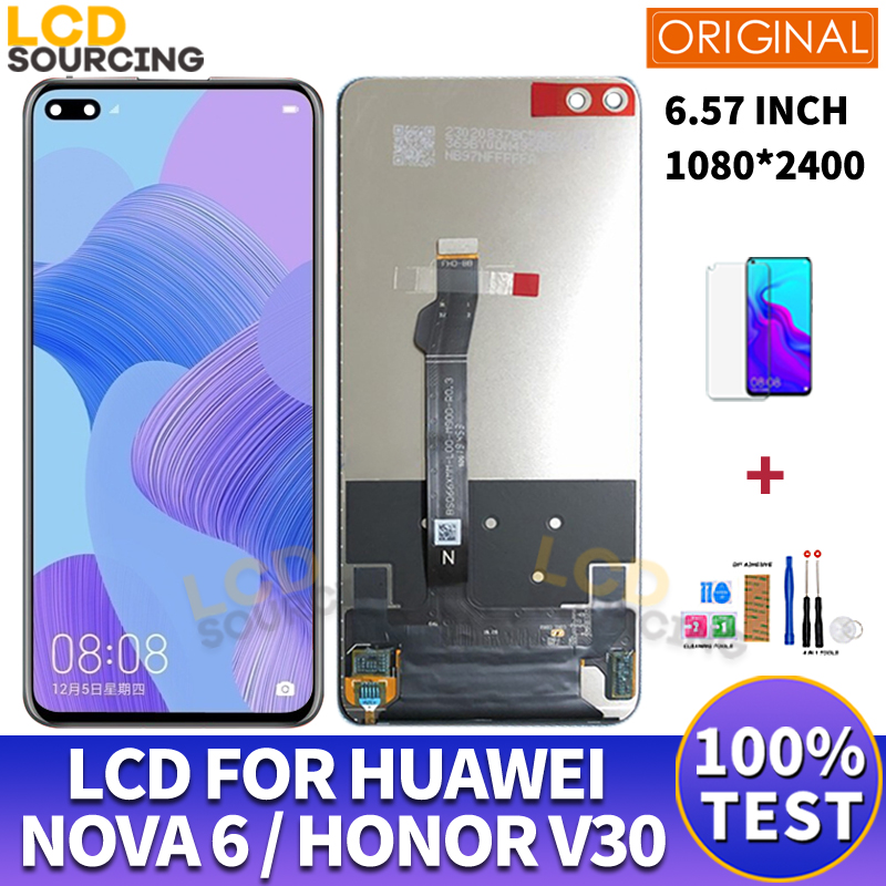 "6.57"" Original LCD For Huawei Nova 6 LCD Display WLZ-AL10 TL10 Touch Screen Digitizer Assembly For Honor View 30 LCD V30 Replace"