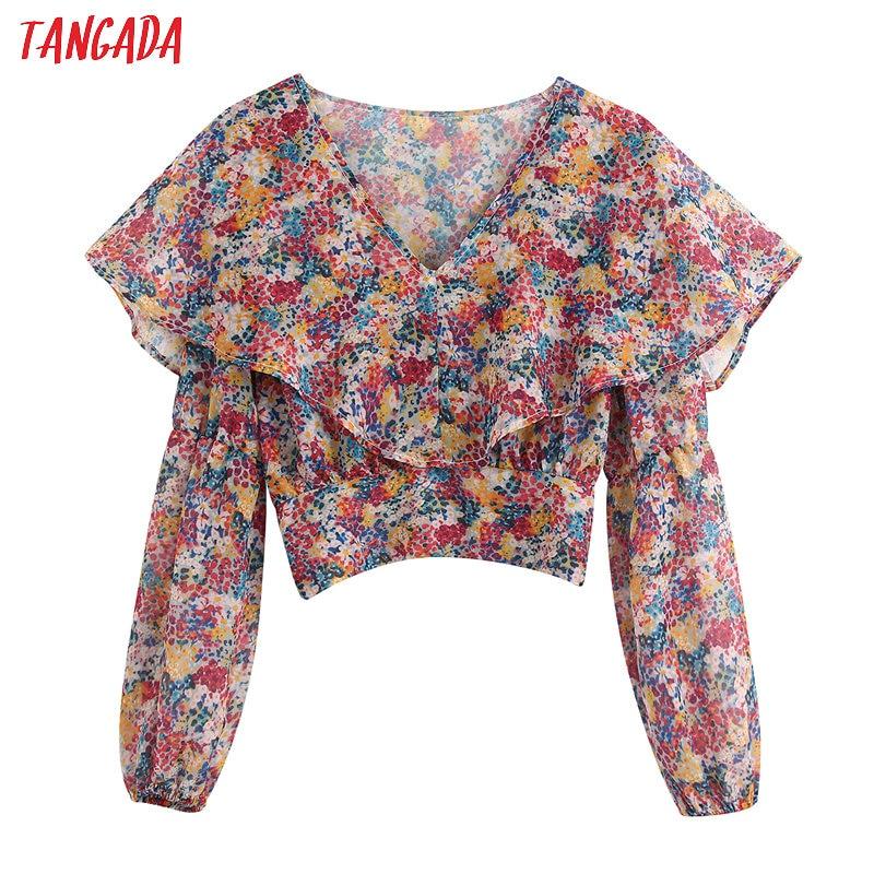 Tangada 2020 Fashion Women Floral Print Ruffles Crop Blouse Shirts Vintage V Neck Long Sleeve Shirt Chiffon Tops BE163
