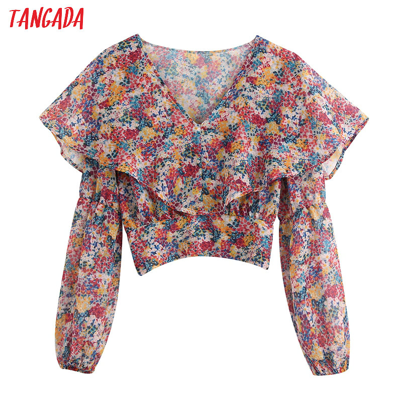 Tangada 2020 fashion women floral print ruffles crop   blouse     shirts   vintage v neck long sleeve   shirt   chiffon tops BE163