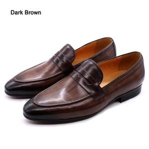 Image 5 - FELIX CHUผู้ชายPenny Loafersรองเท้าหนังของแท้หนังElegant Wedding PARTY Casualรองเท้าบุรุษสีน้ำตาลมือวาดรองเท้า