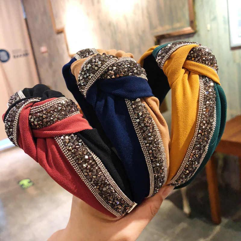 1pc di Cristallo Largo Della Fascia delle Donne di Moda Vintage Patchwork Shiny Sequin Cerchio Dei Capelli Croce Knot Bow Hairband