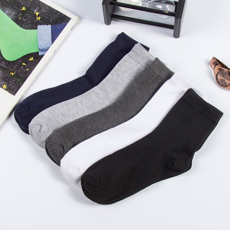 2019 Men's Cotton Socks New Styles Black Business Men Socks Breathable Autumn Winter For Male US Size(7.5-12) 1 Pair