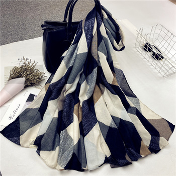 Manufacturers Direct Selling New Style Versatile Lattice Mixed Colors Scarf Female Autumn & Winter Korean-style Warm Cotton Line