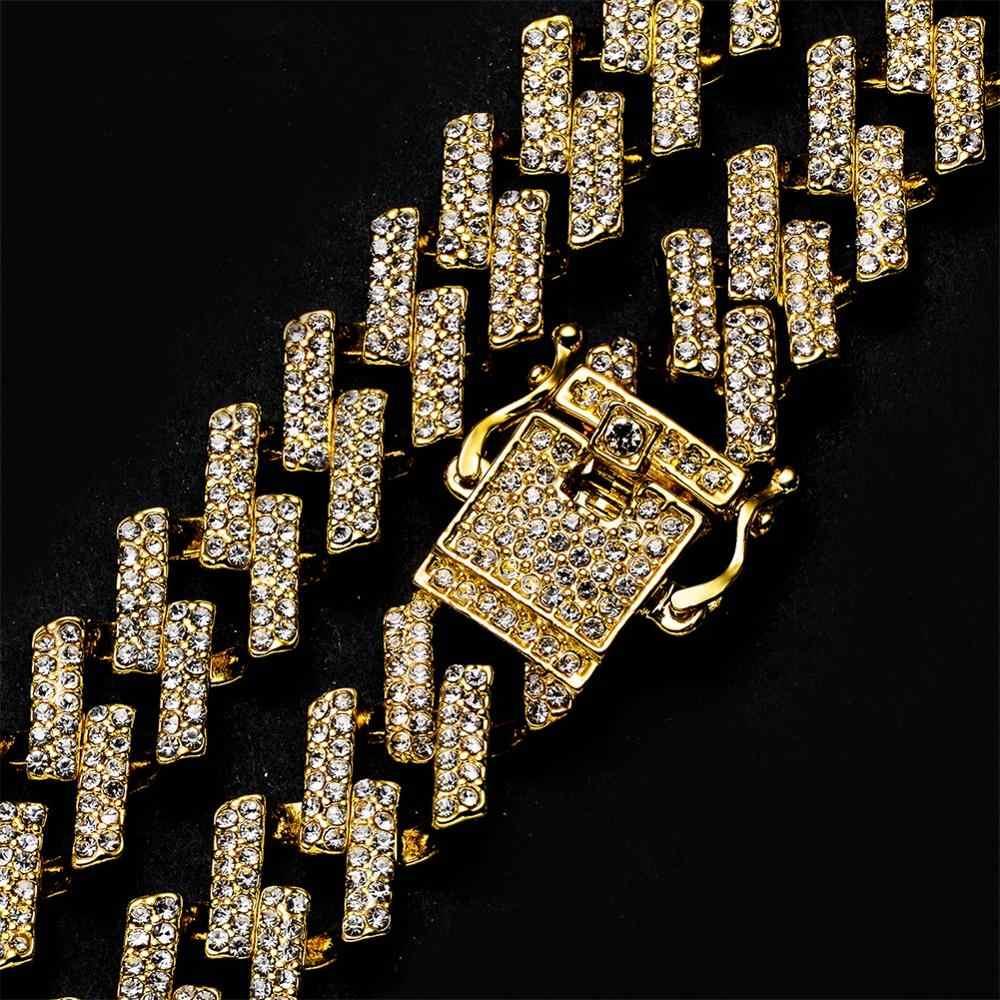 الذهب الفضة الشق الرجال المختنق الهيب هوب Iced خارج بلينغ Rhinstones قلادة ميامي كبح الكوبية ربط سلاسل القلائد سوار مجموعة 15 مللي متر