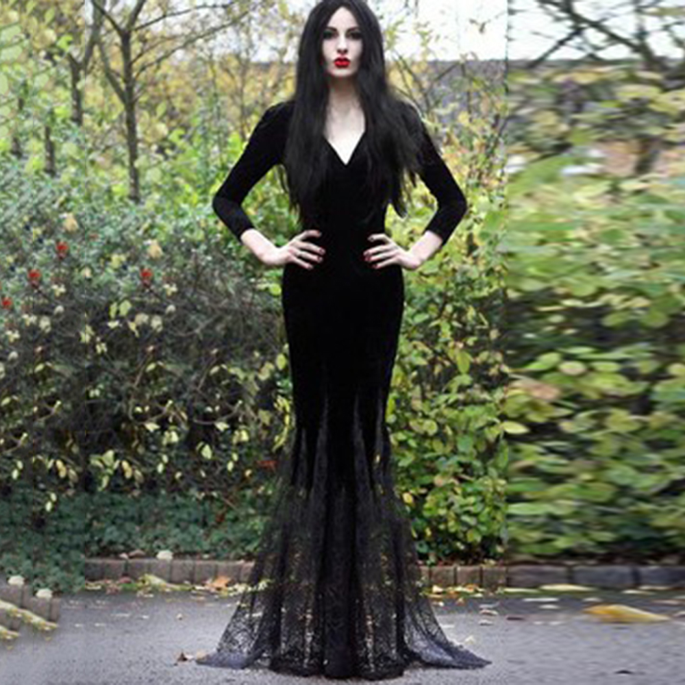Party Black Long Dress Mermaid Lace Hem Goth Deep V Sexy Evening Ladies Elegant Floor Length Vintage Bodycon Maxi Black Dresses