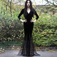 Party Black Long Dress Mermaid Lace Hem Goth Deep V Sexy Evening Ladies Elegant Floor Length Vintage Bodycon Maxi Dresses