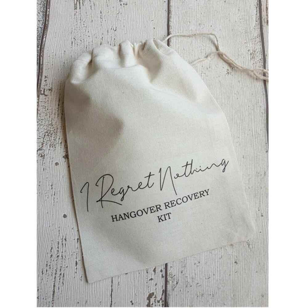 WEDDING HANGOVERS KIT Bag Personalised I Regret Nothing Survival Recovery Kit Bride Squad Bag Bachelorette Drawstring Gift Bags