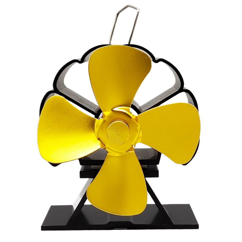 4 Blade Stove Fan - Quiet, Heat Powered Wood/Log Burner Fan - Eco Friendly Heat Circulation For Fireplaces Golden