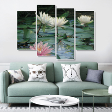 New chinese style Lotus Flowers Canvas Painting poster Print Beautiful Art For Living Room Bedroom wall Picture home Decor