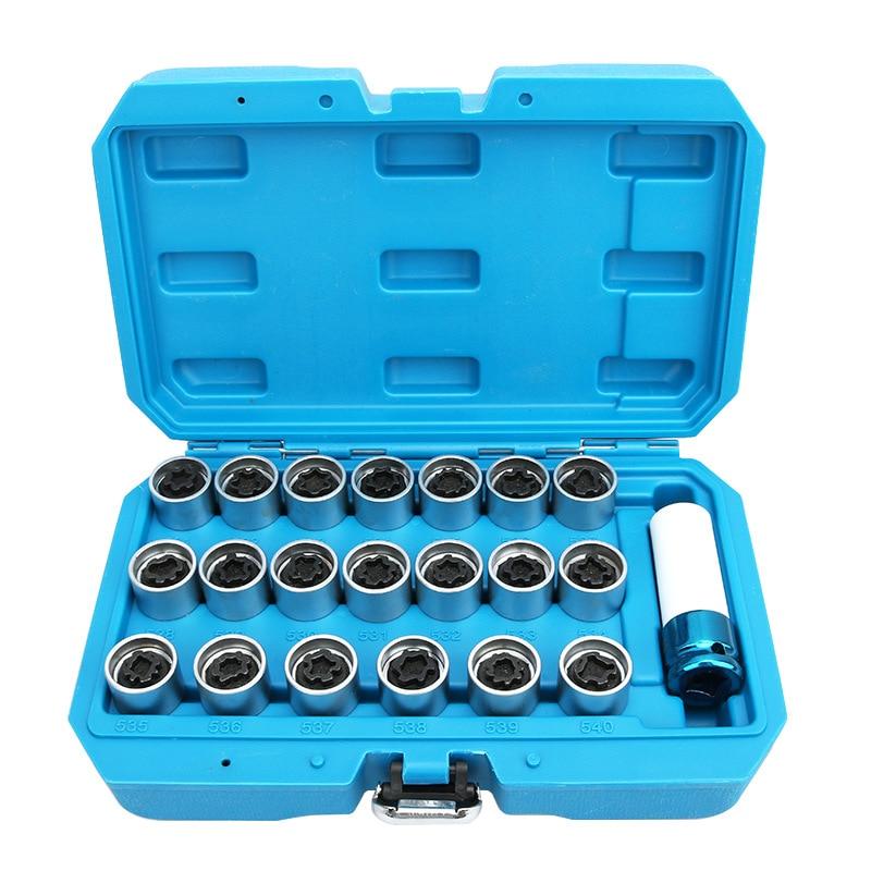 21Pcs Tire anti-theft screw disassembly tool key sleeve For VW Polo Golf Jetta Passat CC Tiguan Touran Bora