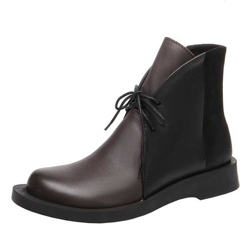Frauen Leder Stiefel Blau Marke Schuhe Herbst 2019 Handarbeit Aus Echtem Leder Stiefeletten Frauen Low Heels Martin Stiefel Casual Schuhe