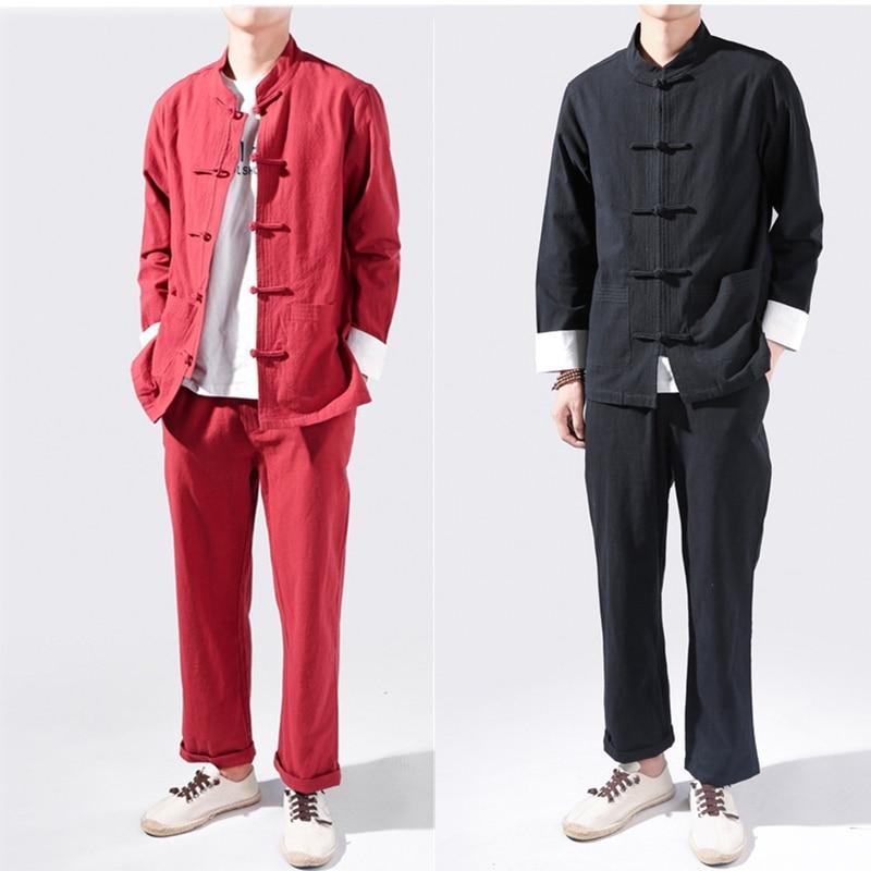 Традиционные китайские топы для мужчин из хлопка и льна, винтажный костюм Тан Тай Чи, Униформа, куртка с длинными рукавами, брюки, костюмы для кунг фу|Наборы| | АлиЭкспресс