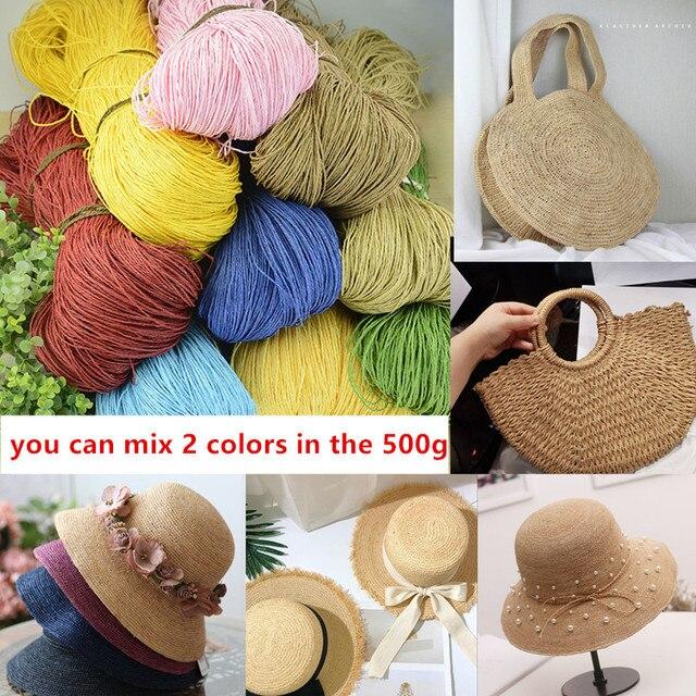 Соломенная пряжа из рафии, 500 г/лот, пряжа для вязания крючком «сделай сам», летняя соломенная шляпа, сумки, подушки, корзины из материала