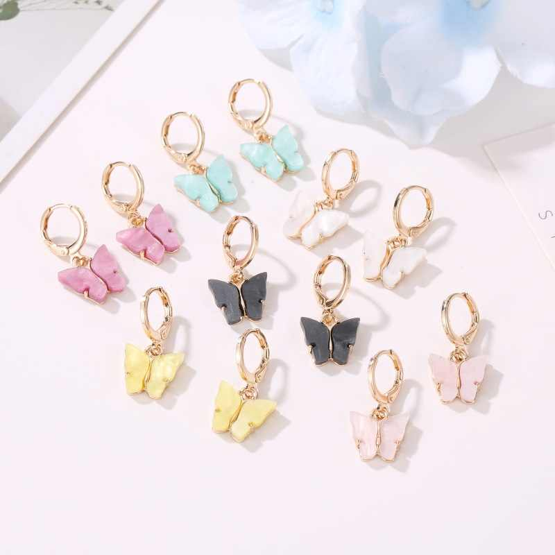 New Women's Earrings Fashion Color Acrylic Butterfly Stud Earrings Animal Sweet Colorful Stud Earrings Girls Jewelry