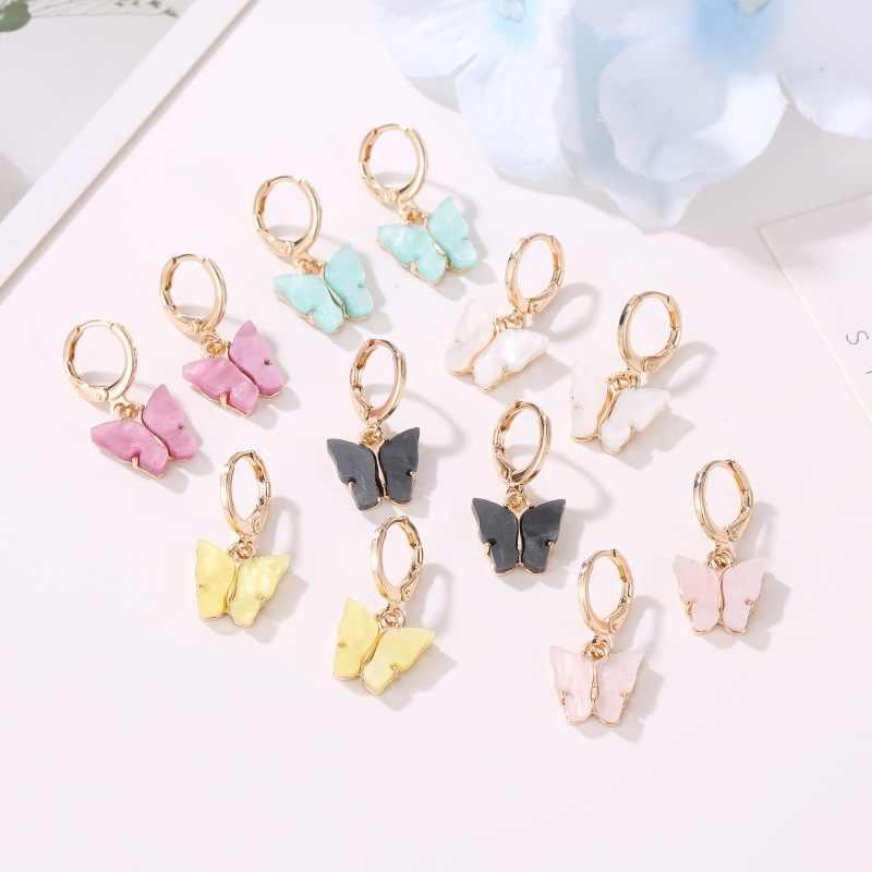 New Women's Earrings Fashion Color Acrylic Butterfly Stud Earrings Animal Sweet Colorful Stud Earrings Girls Jewelry