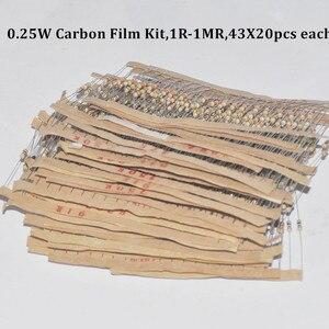 860pcs Resistor Kit 0.25W Watt 43values X 20pcs Resistencias Resistor Pack Carbon Film Resistance 1-1MOhm OHMs 1/4W Carbon Film