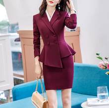 Skirt Suits Office Ladies Wear Work Formal Business Elegant Bouble Breasted Blazer Mini Dress Women Sets Outfits Plus Size(China)
