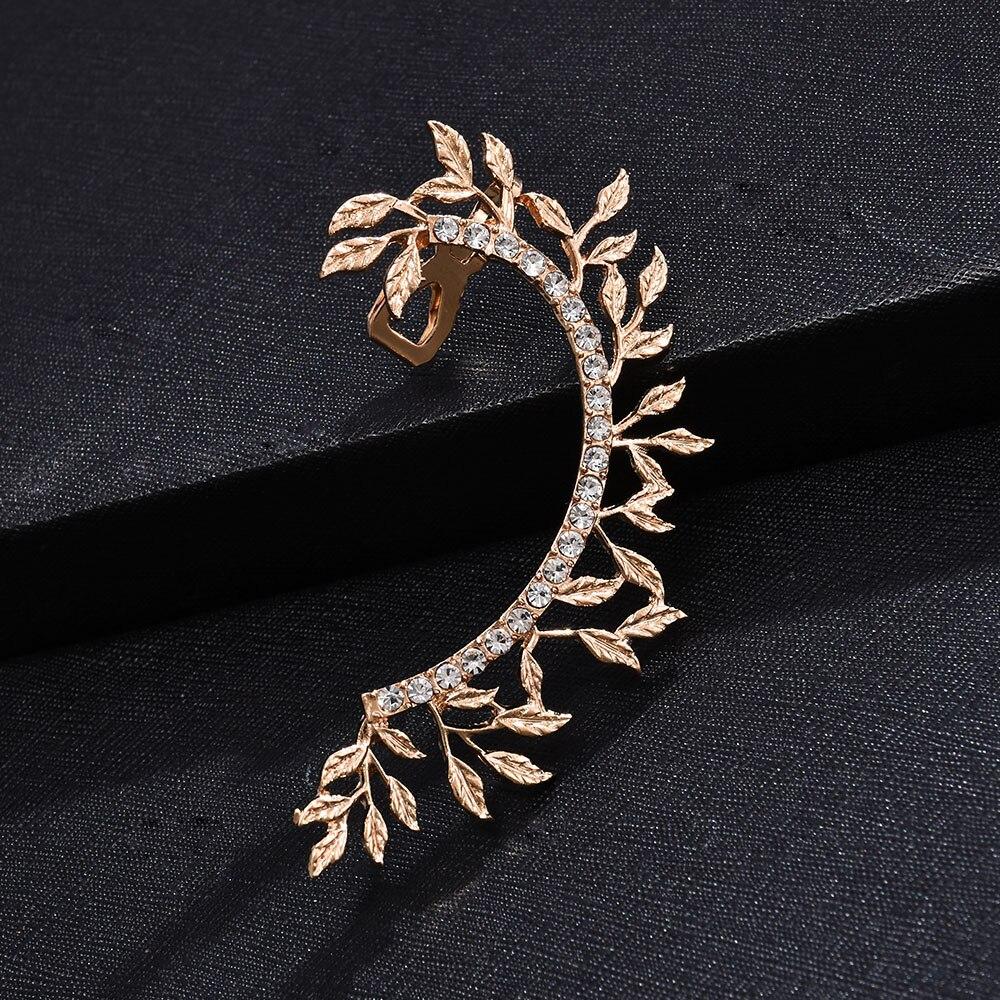Leaves Clip On Earrings No Pierced Non Piercing Fashion Gold Leaf Ear Cuff With Rhinestone Crystal Earcuff For Women Jewelry