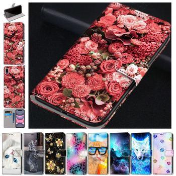 Перейти на Алиэкспресс и купить Милый флип-чехол для телефона для мальчиков и девочек, чехол для Redmi 8 8A Note 8T Redmi K30, 4G, 5G, волк, Лев, щенок, цветок, кожаный чехол-подставка D08F
