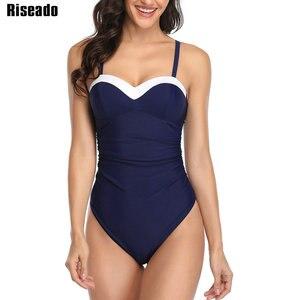 Image 2 - Riseado Đẩy Lên Động Bơi Miếng Dán Cường Lực Đồ Bơi Nữ Đen Đồ Bơi Nữ 2020 Vải Xếp Dây Mặc Đi Biển Người Tắm