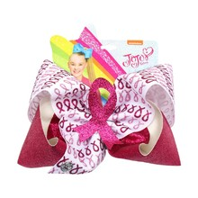 7  Breast Cancer Logo Knot Hair Bow Jumbo Glitter Clips For Girls JOJO Siwa Jojo Bows Dance Party Accessories