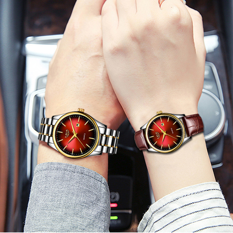 LIGE Women Dress Watches Luxury Lovers Couple Watches Men Date Waterproof Women Leather Strap Quartz Wristwatch Montre Homme