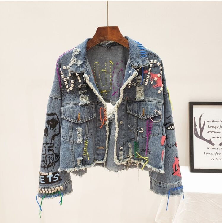 2019 Spring Autumn Women Street Fashion Graffiti Denim Jacket Female Personality Short Raw Cut Rivet Jacket Fringe Jean Coat