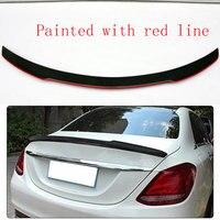 Alerón trasero de fibra de carbono estilo FD  alerón para maletero con línea roja para Benz W205 C180 C200 C220 C250 C300 2015 2016 Sedán