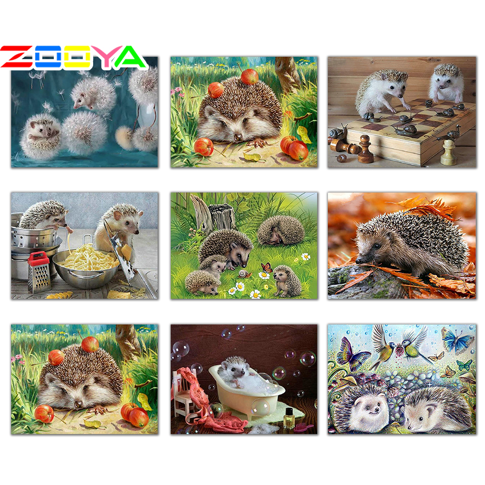ZOOYA 5D DIY Diamond Embroidery Animal Cute Hedgehog &Dandelion Diamond Painting Cross Stitch Round Mosaic Decoration CJ1074-in Diamond Painting Cross Stitch from Home & Garden