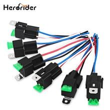 Herorider interruptor 30a 4pin fusível interruptor do relé arnês conjunto 12 v dc spst automotivo relé automático com soquete de relé 6 pces