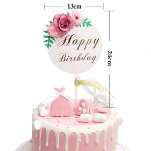 Image 5 - Décoration de gâteau danniversaire pour enfants, garniture de fleurs, fête des mères, fournitures de gâteau danniversaire pour bébé, décoration de gâteaux