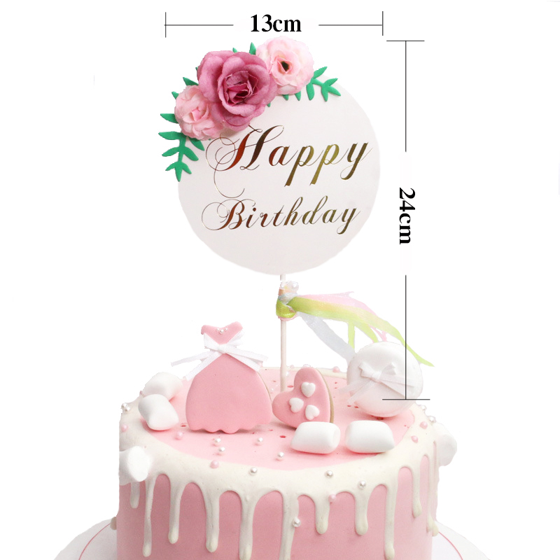 Image 5 - Flower Happy Birthday Cake Topper Mother's Day Cake Decorations Kids Birthday Cake Supplies Baby Shower Cupcake Topper-in Cake Decorating Supplies from Home & Garden