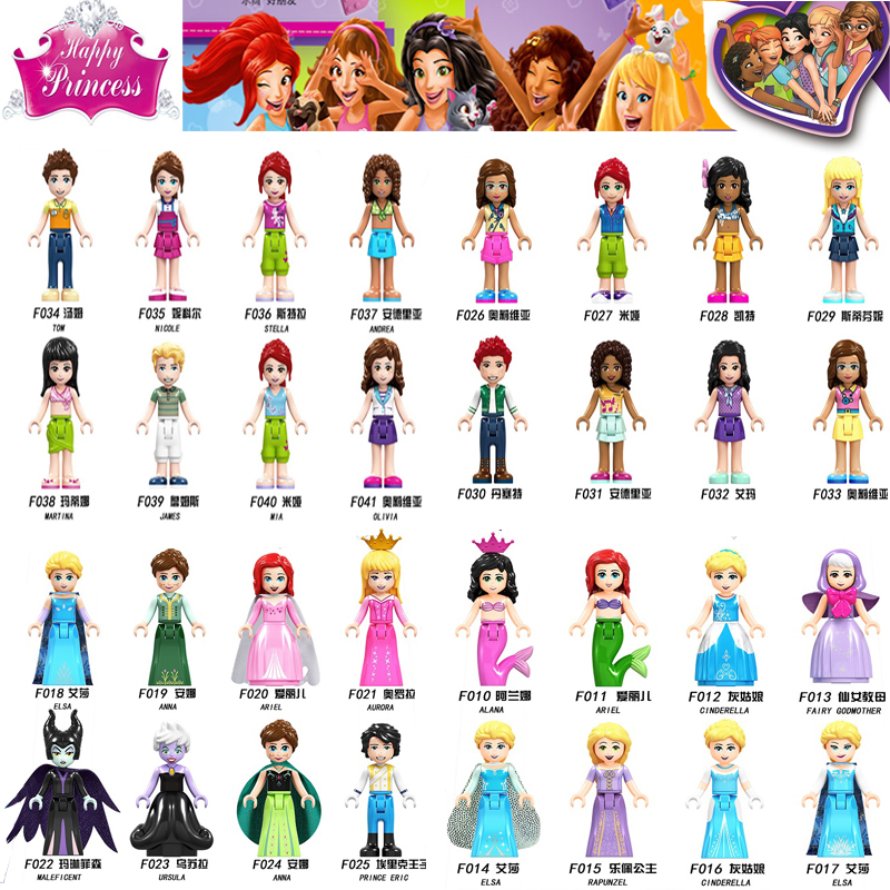 Friends Figures Princess Belle Elsa Ariel Cinderella Anna Building Blocks Toys For Children Friend For Girl  Toy