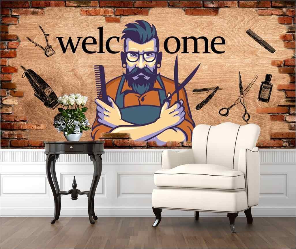 Custom Barber Shop Mural Wallpaper 3d Men S Hair Design Man Salon Background Wall Paper Industrial Decor Papel De Parede 3d Aliexpress